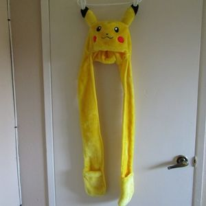 Pikachu Hat with Ears and Hand Warmers